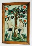 Vyhnání z ráje. Adam a Eva stojí před ovocným stromem, který je ovinut hadem. Eva podává Adamovi červené jablko, východočeská produkce, polovina 19. století. Sbírka OM.