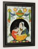 Sv. Anna Učitelka, matka Panny Marie, na podmalbě je vidět Sv. Annu, jak vyučuje Pannu Marii. Obrázky sv. Anny měly ochrannou funkci, světice je patronkou matek, vdov, žen v domácnosti a horníků. Okruh Malíře zalomeného obočí, 2. – 3. č