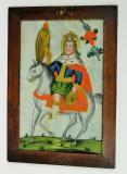 Sv. Václav jedoucí na běloušovi s červenou zlatě lemovanou čabrakou. Václav má na hlavě korunu, přes ramena hermelínový plášť. V pravé ruce drží praporec a v levé předmět s vyobrazením černé orlice. Orlické hory – Kladsko, 3. �