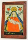 Pieta Sedmibolestná, Maria drží tělo mrtvého Ježíše na klíně. Ze srdce jí vychází 7 mečů. Meče jsou symbolem 7 bolestí souvisejících s osudem jejího syna Ježíše Krista. Východočeská produkce, 19. století, sbírka OM.