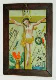 Ukřižovaný Kristus a Arma Christi, neboli Nástroje Kristova utrpení. Východočeská produkce, 19. století, sbírka OM.