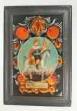 Sv. Václav na bílém koni s královskými atributy, malba na černém pozadí se zlaceným výbrusem spadá do severočeské produkce, 1. čtvrtina 19. století. Sbírka OM.