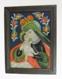 Panna Maria Pomocná, Malíř zalomených obočí (1830-1885), severní Morava.  Na podmalbě je vyobrazena Panna Maria typu eleusa, kdy se Ježíšek tiskne tváří k Marii. Sbírka OM.