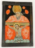 Sv. Trojice bolestná, jedná se o k ikonograficko-kompoziční typ tzv. trůnu milosti, kde trůnící Bůh Otec drží břevno kříže s ukřižovaným Kristem na kolenou, Západní Slezsko, konec 18. století?, sbírka OM.
