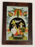 Sv. Trojice vítězná, kompozice medailonu s nahoře zavěšeným velkým květem tulipánu a s nápisovým štítkem se dvěma psaníčky na okrajích je typická pro Malíře zalomeného obočí, 2. – 3. čtvrtina 19. století, severní Morava. Sbír