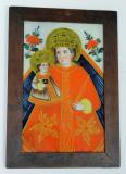 Panna Maria s Ježíškem, obě postavy oděné v zlatě zdobeném červeném rouchu s královskými atributy. Orlické hory a Kladsko - Kaiserswalde (Lasówka), ¾ 19. století
