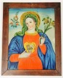 Neposkvrněné srdce Panny Marie, Panna Marie je zde zobrazena s jedním ze svých typických atributů – lilií. Orlické hory a Kladsko - Kaiserswalde (Lasówka), ¾ 19. století, sbírka OM.