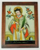 Sv. Jan Nepomucký Podmalba zachycuje sv. Jana Nepomuckého v rochetě s biretem na hlavě a s palmovou ratolestí jako symbolem mučednické smrti v jedné ruce a křížem v druhé. Za světcem v pozadí namalován most, z něhož byl dle legendy shozen