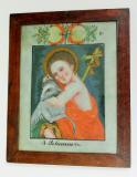 """Sv. Jan Křtitel se svým zvířecím atributem beránkem. V pozadí dřevěný kříž se zlatou stuhou a nápis """"Eceainusdi"""" neboli Ecce Agnus dei – Hle, beránek boží. Bílý podklad s květinovým dekorem je typický pro okruh podmaleb z Orlic"""