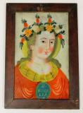 Sv. Rozálie, díky typickým znakům obličeje – malá ústa, styl obočí s nosem, promalba vlasů, můžeme podmalbu zařadit do dílenské oblasti Kaiserswalde ¾ 19. století. Vlasy sv. Rozálie jsou orámovány květinovým věncem, který je jedn