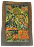 Sv. Cyril a Metoděj, na podmalbě jsou zobrazeni proti sobě sedící soluňští bratři. Cyril v ruce drží svůj atribut - knihu a žehná Metodějovi. V popředí je vidět zemský znak Moravy – orlice se stříbrnočerveným šachováním, nezná