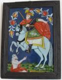 Podmalba na skle s motivem legendy o sv. Martinovi, Malíř zalomených obočí (1830-1885), severní Morava Je zde zobrazen okamžik, kdy se vysoce postavený voják Martin podělil se žebrákem o svůj teplý plášť. Rozťal ho mečem a oddělenou č